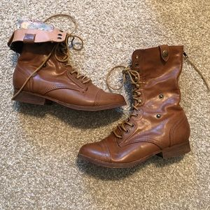 Bakers Leather Inspired Foldover combat boots